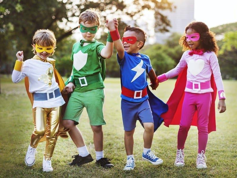 Superhero kiddos playing with imagination