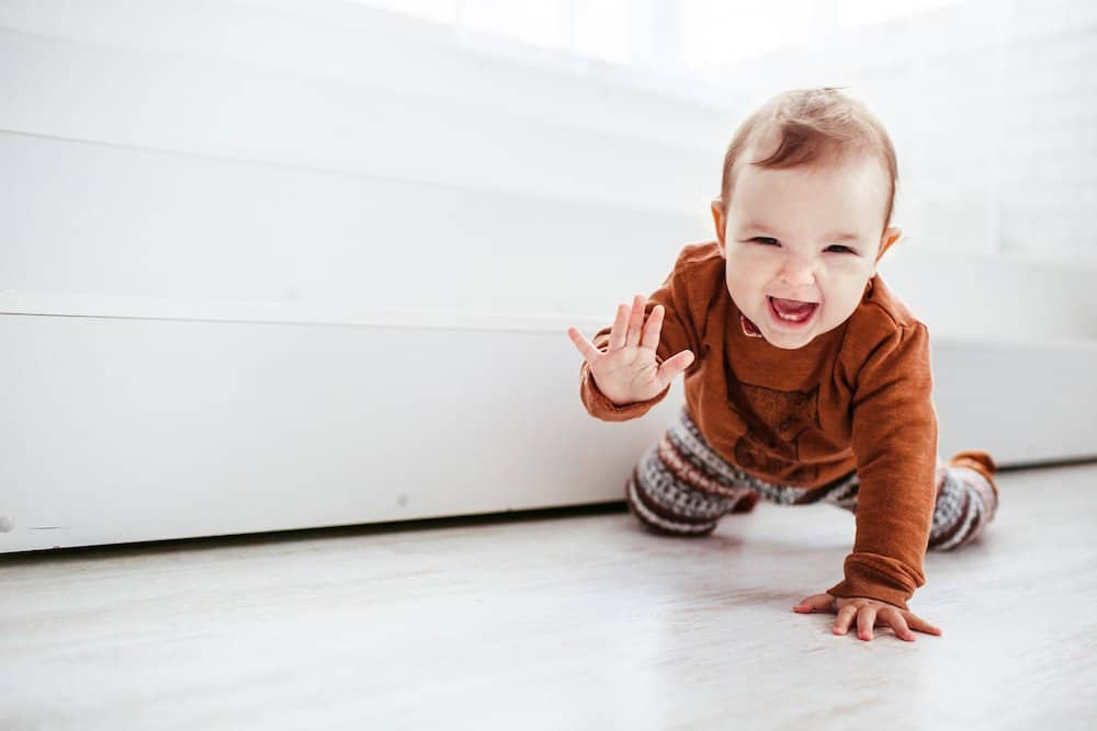 Baby crawling milestone