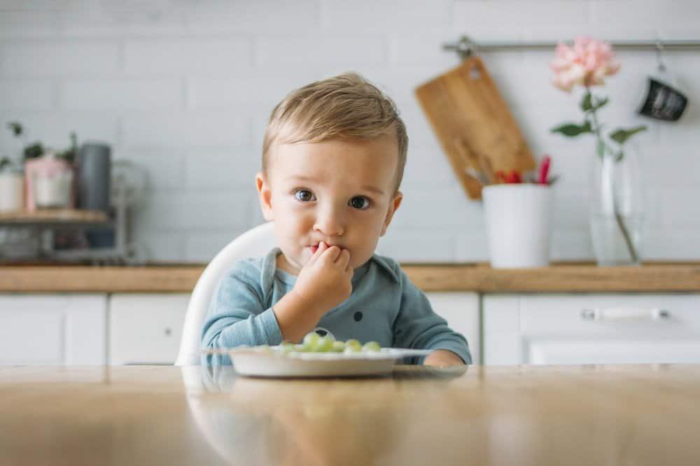 Baby eating milestone