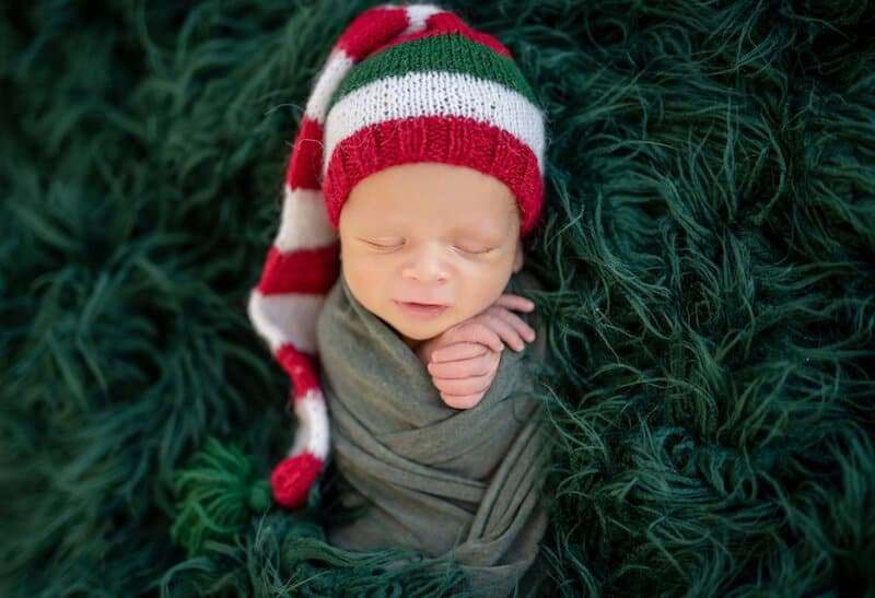 Newborn Christmas swaddle blanket idea