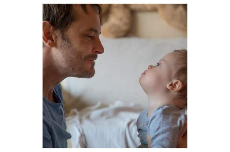 Social interaction - Dad interacting with his baby boy