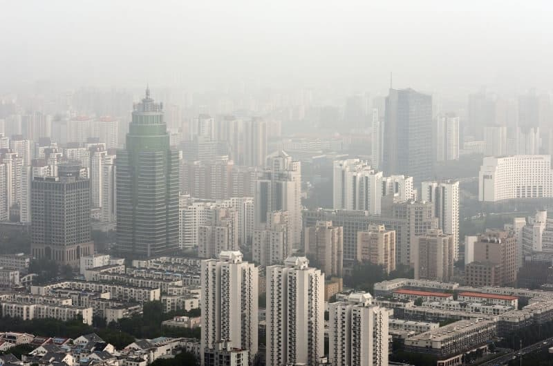 A view of smog covering Beijing downtown.