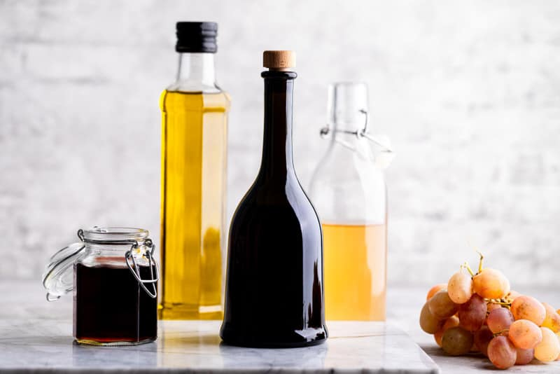 A few wine vinegar jars, good as wine alternatives for pregnant women who are cooking.