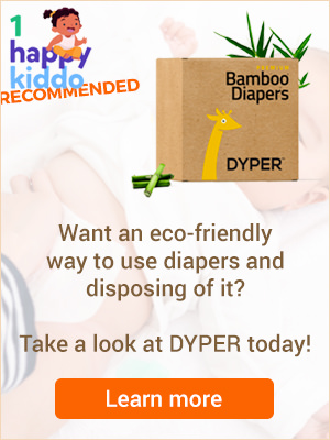 Dyper Diapers are 1happykiddo recommended for their eco-friendly process of creating and disposing of their diapers.