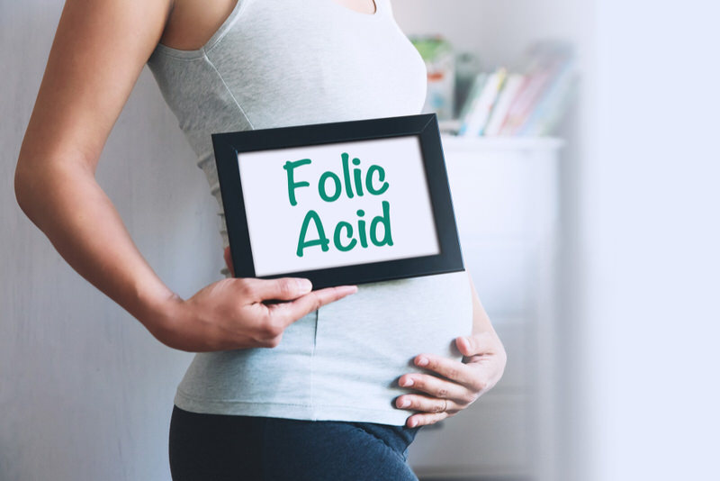 """A pregnant woman is holding her belly and a sign that says """"folic acid"""". Folic acid is an essential nutrient for the baby's proper brain and spine development"""